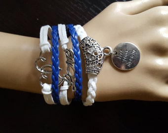Leather Cord Charm Love Heart Sky Blue and White braided Bracelet