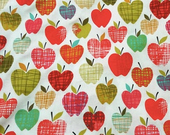Back to School Apple Fabric 1/2 Yard Available 100% Cotton Fall, Autumn, Crafts
