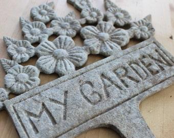 gorgeous vintage garden plaque, antique garden sign, stunning patina, metal garden sign