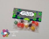 INSTANT DOWNLOAD -Digital File - Alien Valentine Treat Bag Topper- Printable