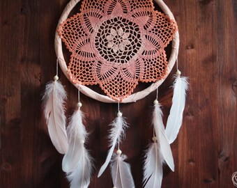 Dream Catcher - First Sunshine - Unique Dream Catcher with Handmade Crochet Web and Light Rose Feathers - Mobile, Home Decor, Decoration