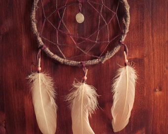 Dream Catcher - Wonderful Wish - With Small Gemstone, Natural Whool Web, Rose Feathers - Boho Home Decor, Nursery Mobile