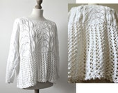 SALE Handmade Cotton Sweater Knitted top Lace sweater Wedding outfit Handmade lace top Boho whites Hypoallergenic White lace top
