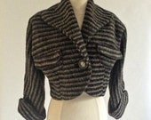 1940s Bolero Jacket, Vintage Cropped Jacket with Single Button, Late 40s Striped Cropped Bolero Jacket
