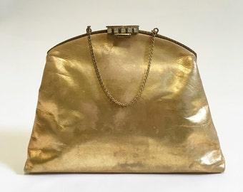 1920s Gold Metallic Leather Evening Bag, Jazz Age Purse, Gatsby Era Bag, Dainty Leather 20s Pocketbook, Vintage Gold Purse