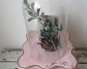 Glass cloche dome w/ wooden base shabby cottage chic bell jar w/ trinket wooden box pink with rhinestones home decor anita spero design
