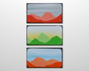 Original Abstract Painting Canvas Acrylic Wall Art - Vertical Small Colourful Mountain Silhouette - Red, Green, Orange, Blue, Grey, Yellow