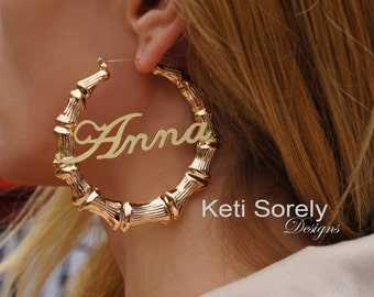 Gold Bamboo Earrings With Your Name - Door Knocker Hoop Earrings (Order Any Name) - Sterling Silver, Yellow or Rose Gold Overlay