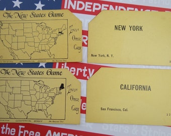 Vintage 1920s State Flash Card - Your Choice of States N - W | The New States Game | Collectible, Ephemera, Scrapbook, Decor, Collage