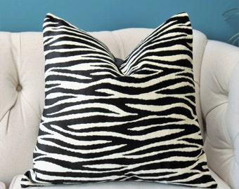 Velvet Animal Print Black and Ivory Zebra Pillow Cover -Lee Jofa Black Velvet Pillow Cover - Modern Grey Ivory Throw Pillow - Motif Pillows