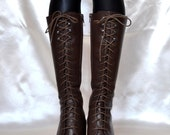 Leather Grunge Boots 1990s Grunge Brown Leather Boots Ties Back Zipper Lined Size VINTAGE BROWN LEATHER Boots Ready To Ship