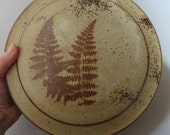 Vintage Kostelic Ceramic Pottery Clay Casserole Dish/Bowl with Lid, Signed, Light Brown, Ferns, Fall Decor