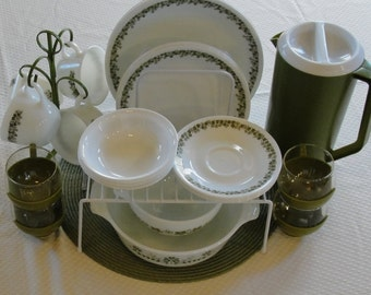 Crazy Daisy Dish Set for Four Plus Casserole, Salad Bowl and More