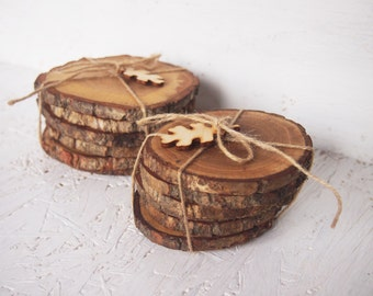 6 Wooden Oak Coasters, Handmade Coasters, Set of 6 Coasters, Rustic Coasters, Natural Eco Coasters, Drink Coasters, Table Decoration
