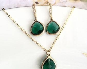 emerald green gold crystal necklace and earrings set, bridal or bridesmaid jewelry set,dark green necklace,emerald green crystal tear drop