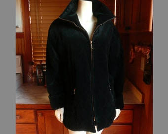 Vintage 90s Larry Levine Black Quilted Velour Jacket Car Coat M