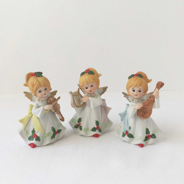 Vintage christmas angels musical angel figurines set of