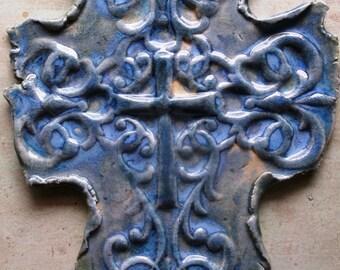 Pale Blues Wall Cross Unique Multi Glazed On Sale