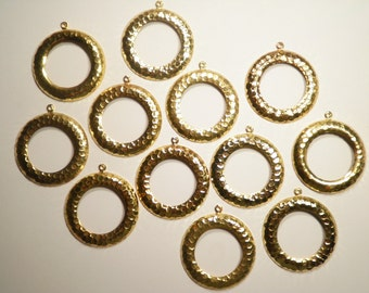 12 Gold Plated 32mm Round Earring Hoops Dangles Pendants