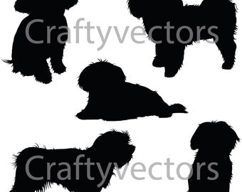 Maltese Dog Silhouettes Vector file