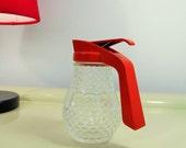 Vintage Sugar Dispenser Stoha, Vintage Glass Sugar Dispenser Diamond Pattern with Red Plastic Lid Made in West Germany 70s