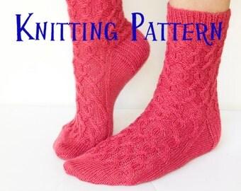 Knitting Pattern - Cherry Pie Socks, cable sock pattern, knit socks pattern, sock instructions, DIY knit socks