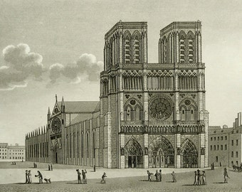 1822 Antique view of NOTRE-DAME de PARIS. France. Gothic Cathedral. 195 years old print