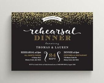 Printable Rehearsal Dinner Invitation \ Gold Glitter and Black Invite (RD84)