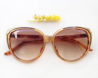 80s dead stock sunglasses / Vintage golden ocher cat-eye french frames / butterfly women's Eyewear / deadstock pin-up midcentury sun glasses
