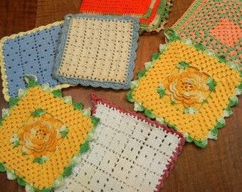 7 vintage potholders - hot pads - trivets - midcentury - crochet