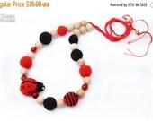 25% off Nursing Juniper necklace / Breastfeeding Teething necklace, Teething amigurumi toy Ladybug