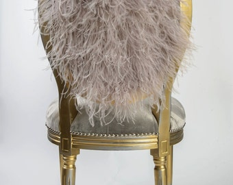 French Louis XVI Grey Silk Velvet eclectic dining accent chair upholstered in grey velvet and ostrich feather fur painted gold distressed