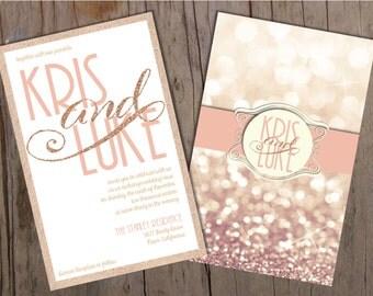 Blush Gold Wedding Invitation, Bokeh Wedding Invitations, Blush and Gold Wedding Invitation, Glitter Wedding Invitation, Blush Glitter
