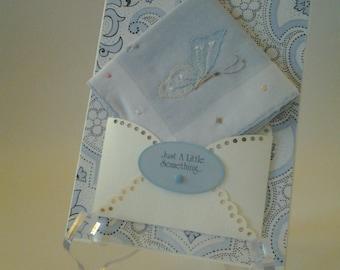 Vintage Appliqued Handkerchief Butterfly Something Blue Wedding Bridal Accessory Birthday Retirement Keepsake Gift Hanky Card