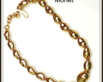 Monet Necklace gold tone collar chunky gold bead  mid century