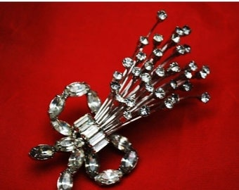 Rhinestone Flower spray brooch ice crystal pin