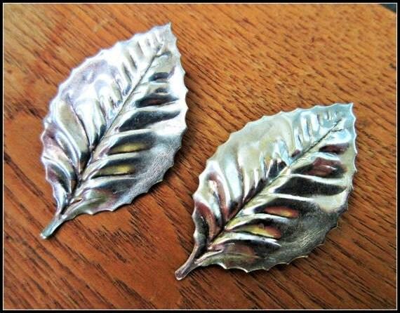 Leaf earrings - silver plated - clip on earrings - Nature - Boho
