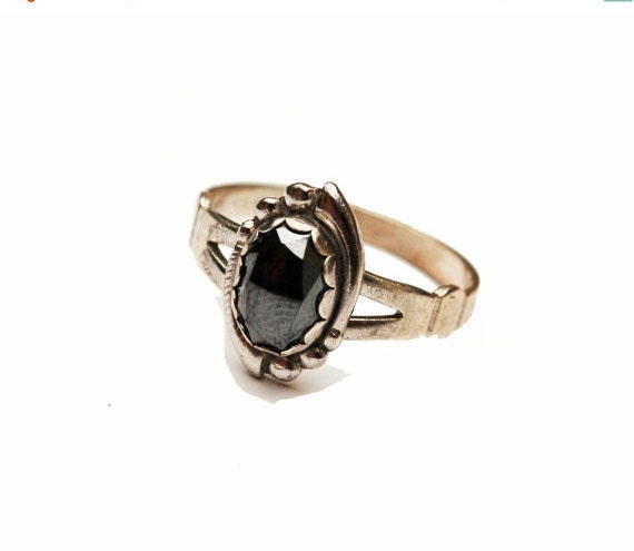 sterling hematite ring grey gemstone cabochon s size 8
