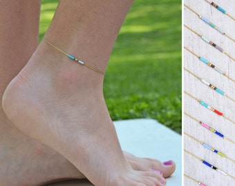 gold anklet, ankle bead bracelet, foot jewelry, thin gold anklet, simple ankle bracelet, delicate anklet, minimalist anklet, ankle jewelry