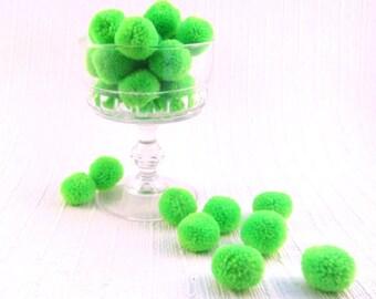 Parakeet Yarn Pom Poms Lime Green Wool Pom Pom Mini Pom Poms Wool Pompoms Small Woolen Pom Poms Wedding Decor  50+ Pom Pom Over 80 Colors