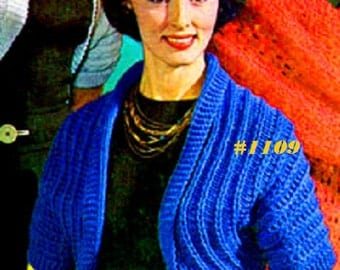 A BEST Vintage 1950's Simple Knit Shrug Bolero Wrap  #1109 PDF Digital Knit Pattern