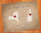 Vintage Style States with Hearts Print - Wedding Gift - Long Distance Love Map with Personalized Heart Locations - Burlap look - NO FRAME