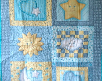 Quilt - Quilted Baby Blanket - Baby Quilt - Gender Neutral Baby Quilt for Boy or Girl - Sun Moon and Stars