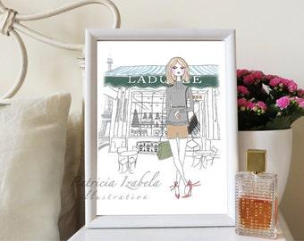 Patiserie Paris feminine print, fashion illustration, fashion wall art, home décor, fashion print, Paris print, the Eiffel Tower Paris