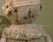 Primitive Vintage Cottage Victorian Style Winter Snowman Snow Girl Doll ~ Sweetpeas Primitives ~ Snowkin Emma
