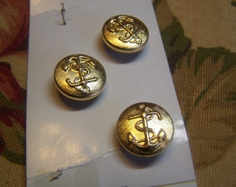 "Vintage 5/8"" Anchor Uniform Brass Tone Metal Buttons, Set of 3 (1707)"