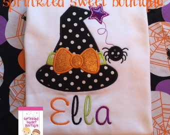 Halloween Witch Hat Sparkle Girls Shirt Custom Monogram Fall Applique Embroidery