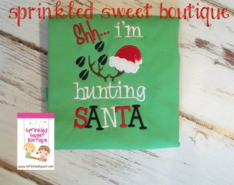 Boys Hunting Santa Christmas Applique Holiday Monogram Custom Shirt Deer Tracks Antlers