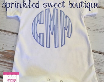 Monogram Applique Baby Romper Boys Take Home Baby Shower Gift First Baby Set Matching Bib and Burp
