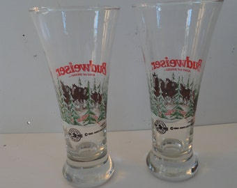 Vintage 2 Anheuser-Busch Budweiser King of the Beers Clydesdales Beer Glasses 1989 Pilsner Barware Clydesdales Pilsner Barware Man Cave